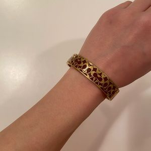 Coach Signature Bangle Bracelet in Burgundy/Gold